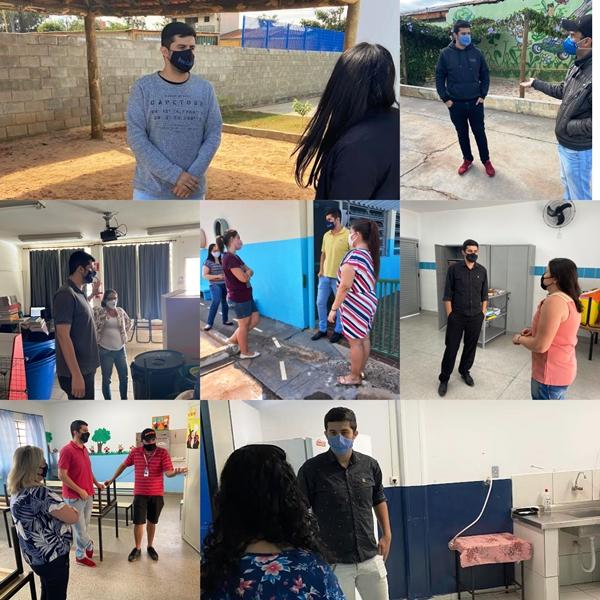 Bruno Zancheta visita escolas municipais e solicita inspeção da Vigilância Sanitária visando retorno seguro