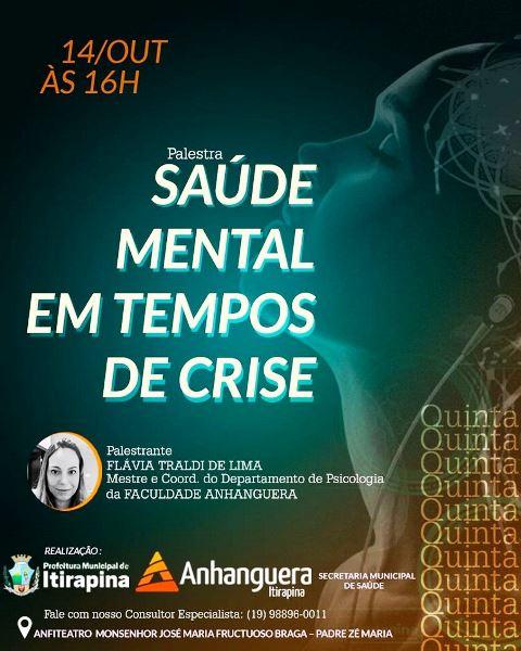 'Saúde mental em tempos de crise' é tema de palestra nesta quinta